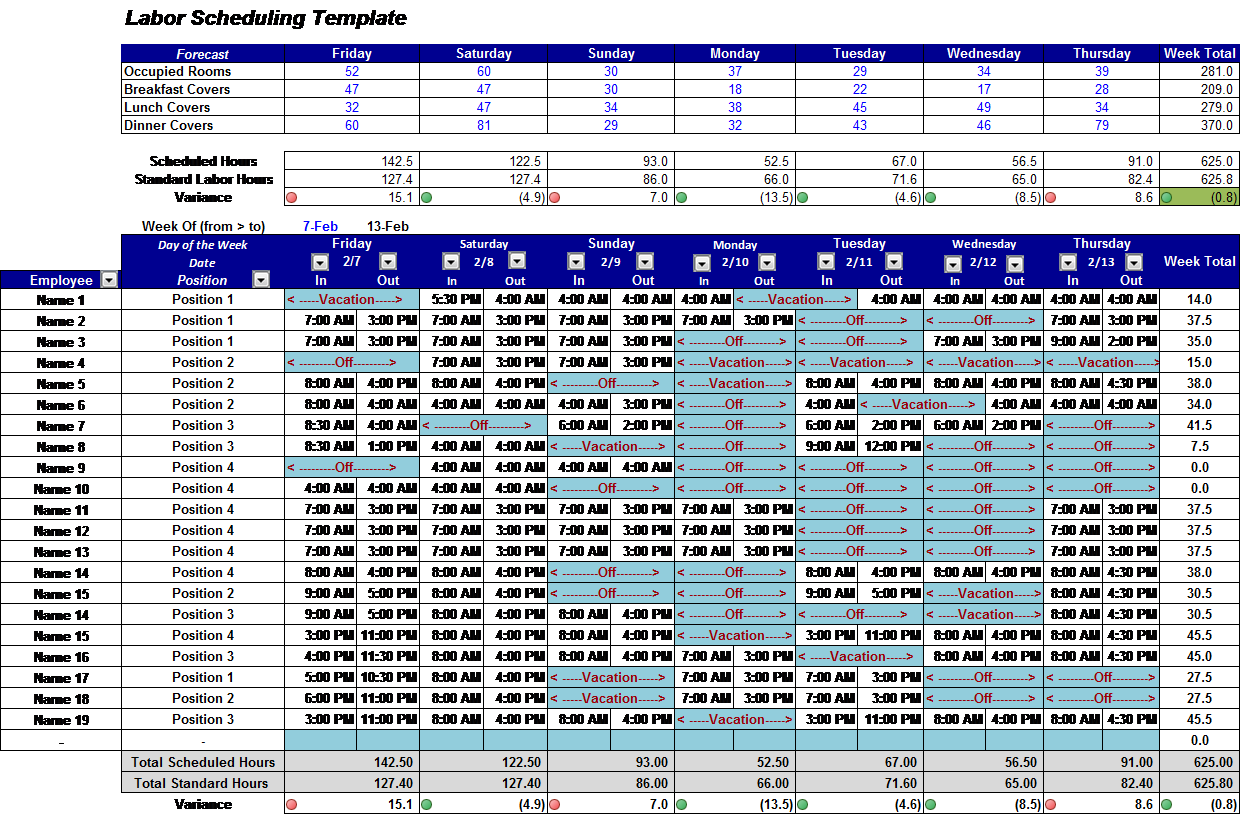 Restaurant Employee Schedule Template Excel