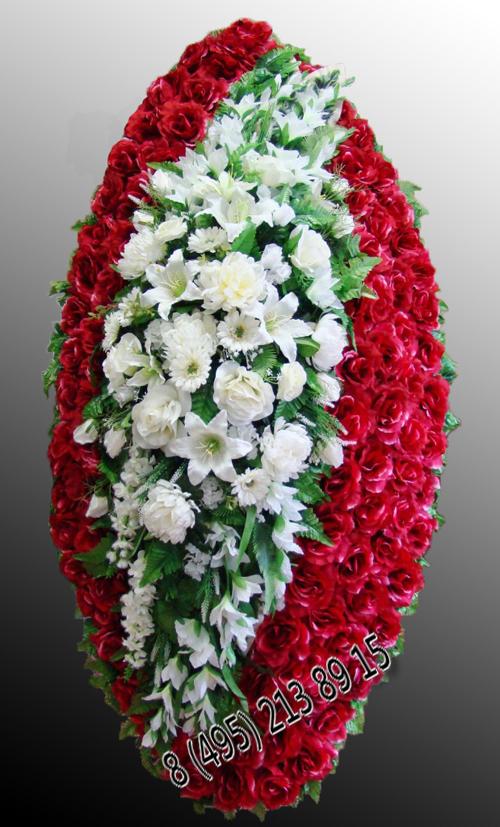 Венок ритуальный из искусственных цветов