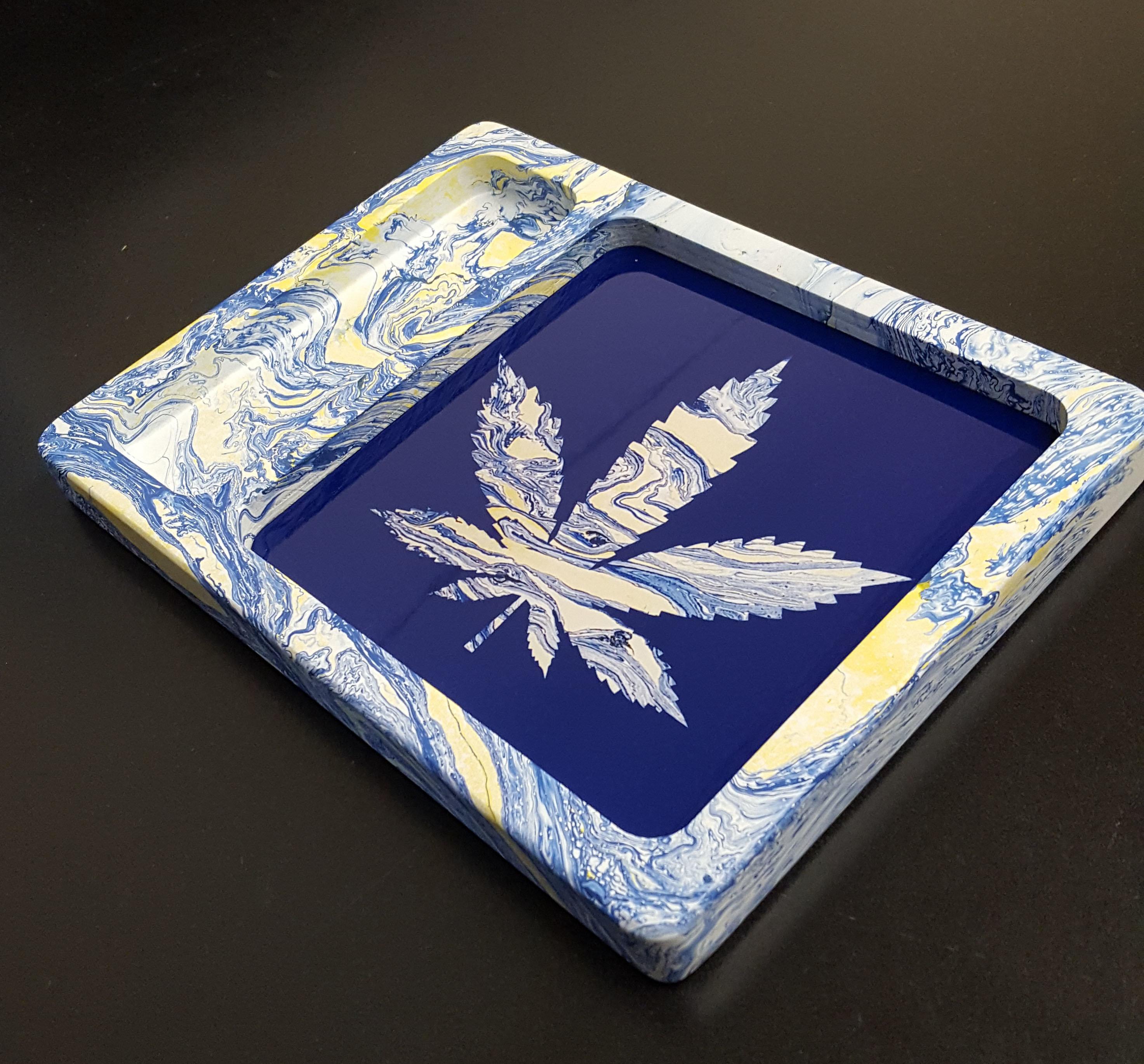 Blue/Yellow Hydro Swirl Pot Leaf 8x6x1 SCRATCH RESISTANT PAINT!