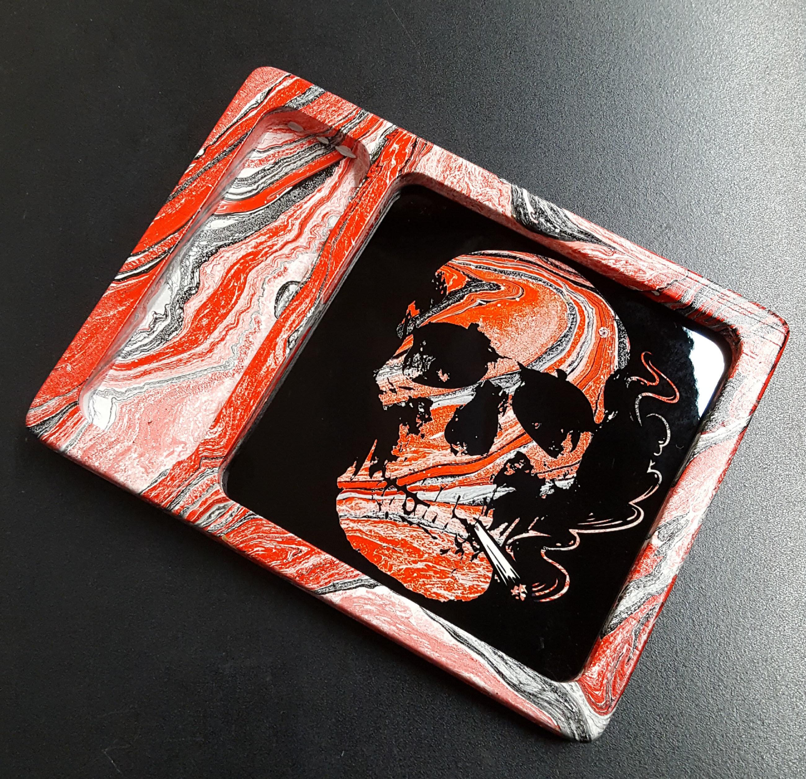 Red/black Hydro Swirl Skull 8x6x1 SCRATCH RESISTANT PAINT!