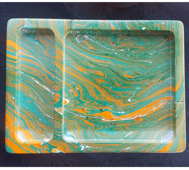 Green/Orange Hydro Swirl 8x6x1 SCRATCH RESISTANT PAINT!