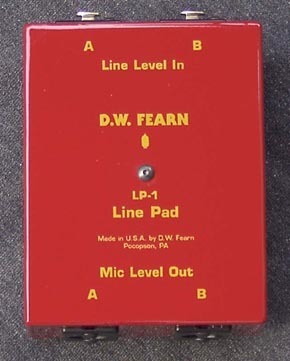 D.W. Fearn LP-1 line level to microphone level matching box