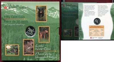 Канада. Елизавета II. 1996. 50 центов. Серия: Маленькие животные. Лосёнок. 0.999 Серебро 0.2990 Oz., ASW., 9.30 g., KM# PROOF.