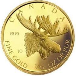 Канада. Елизавета II. 2004. 50 центов. Лось. 0.999 Золото 0.0408 Oz., AGW., 1.270 g., KM# PROOF. Mintage: 25,000
