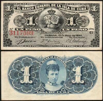 Куба. Бумажные деньги. 1896. 1 песо серебро * 100 штук. Banco Español de Cuba. Тип: 1896. Серия/№: . Подпись: . Catalog #. PRESS (UNC)