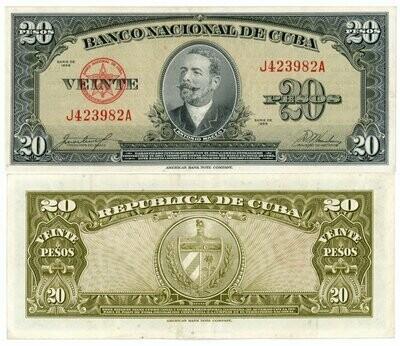 Куба. Бумажные деньги. 1949. 20 песо * 100 штук. Антонио Мацео. Тип: 1949. Серия/№: . Подпись: . Catalog #. PRESS (UNC)