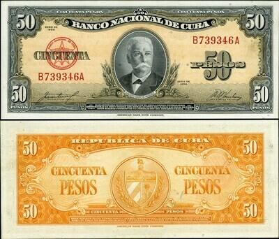 Куба. Бумажные деньги. 1956-1960. 50 песо * 100 штук. Каликсто Гарсиа Инигуез. Тип: 1956-1960. Серия/№: . Подпись: . Catalog #. PRESS (UNC)