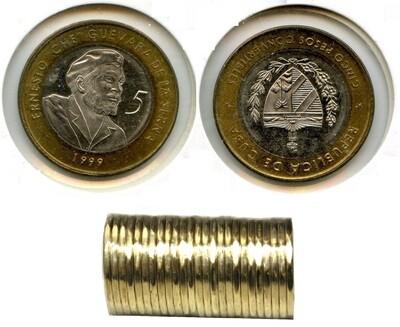 Cuba. 1999. 5 pesos CUC - roll of 20 coins. Ernesto Che Guevara. Type: 1999. Bi-Metallic (Ni-Steel + Brass - Steel) 4.520 g. KM#730. UNC