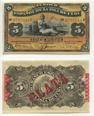 Куба. Бумажные деньги. 1897. 5 песо серебро * 100 штук. Banco Español de Cuba. Тип: 1897. Серия/№: . Подпись: . Catalog #. PRESS (UNC)