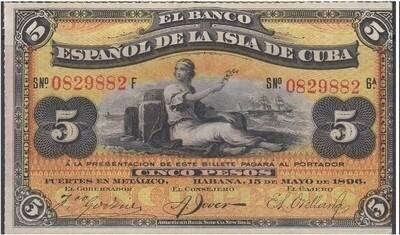 Куба. Бумажные деньги. 1896. 5 песо серебро * 100 штук. Banco Español de Cuba. Тип: 1896. Серия/№: . Подпись: . Catalog #. PRESS (UNC)