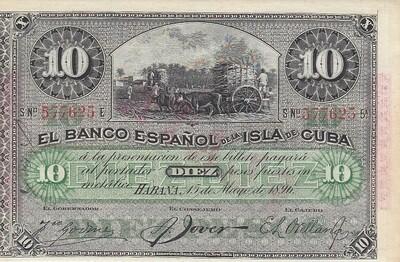 Куба. Бумажные деньги. 1896. 10 песо серебро * 100 штук. Banco Español de Cuba. Тип: 1896. (банковский вексель синий - 1896). Серия/№: . Подпись: . Catalog #. PRESS (UNC)