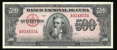Куба. Бумажные деньги. 1950. 500 песо * 100 штук. Каликсто Гарсиа Инигуез. Тип: 1950. Серия/№: . Подпись: . Catalog #. PRESS (UNC)