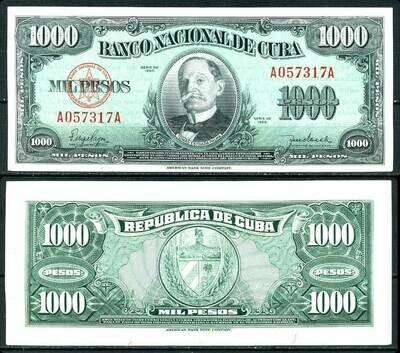 Куба. Бумажные деньги. 1950. 1000 песо * 100 штук. Томас Эстраде Палма. Тип: 1950. Серия/№: . Подпись: . Catalog #. PRESS (UNC)