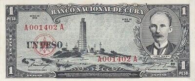 Куба. Бумажные деньги. 1956. 1 песо * 100 штук. Хосе Марти. Тип: 1956. Серия/№: . Подпись: . Catalog #. PRESS (UNC)