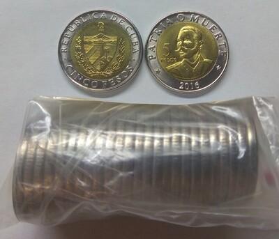 Cuba. 2016. 5 pesos - roll of 25 coins. 120th Anniversary - Death of Antonio Maceo. Type: 2016. Bi-Metallic (Ni-Steel + Brass - Steel) 4.520 g. UC#112. UNC