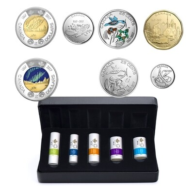 Канада. Елизавета II. 2017. Специальный набор монет из роллов от RCM. Серия: 150 лет конфедерации Канады. Монеты в роллах RCM. Ni, Fe, Cu. KM#. BU/Colored. UNC
