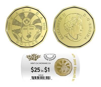 Канада. Елизавета II. 2019. 1 доллар - ролл из 25 монет. Равенство. Ni-Cu. KM#. UNC (СПЕЦИАЛЬНЫЙ ВЫПУСК)