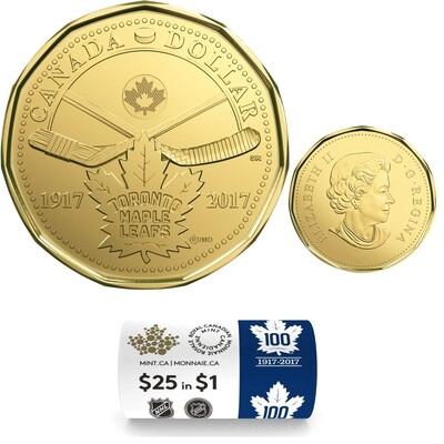 Канада. Елизавета II. 2017. 1 доллар - ролл из 25 монет. Хоккей. 100 лет команде Кленовые листья Торонто™. Ni-Cu. KM#. UNC (СПЕЦИАЛЬНЫЙ ВЫПУСК).