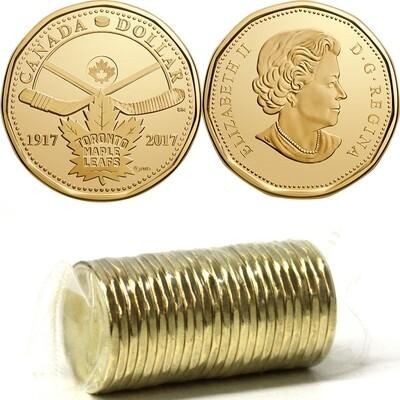 Канада. Елизавета II. 2017. 1 доллар - ролл из 25 монет. Хоккей. 100 лет команде Кленовые листья Торонто™. Ni-Cu. KM#. UNC.