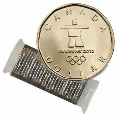 Канада. Елизавета II. 2010. 1 доллар - ролл из 25 монет. Серия: Олимпиада 2010 в Ванкувере. Счастливый Селезень. Тотем. Ni-Cu. KM#. UNC