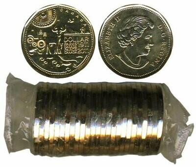 Канада. Елизавета II. 2011. 1 доллар - ролл из 25 монет. Серия: 1911-2011. 100 лет Первому Национальному Парку Канады. Бореальные леса. Ni-Cu. KM#. UNC