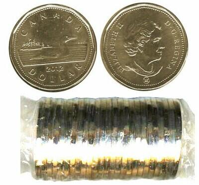 Канада. Елизавета II. 2012. 1 доллар - ролл из 25 монет. Селезень. Логотип RCM. Ni-Cu. KM#. UNC