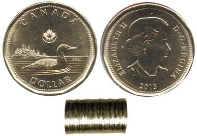 Канада. Елизавета II. 2013. 1 доллар - ролл из 25 монет. Селезень - Новое поколение. Ni-Cu. KM#. UNC