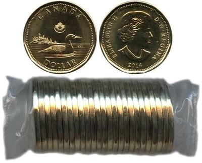 Канада. Елизавета II. 2014. 1 доллар - ролл из 25 монет. Селезень. Ni-Cu. KM#. UNC