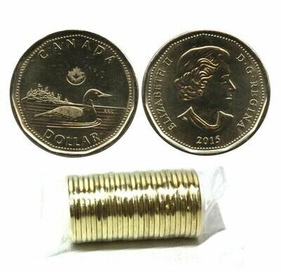 Канада. Елизавета II. 2015. 1 доллар - ролл из 25 монет. Селезень. Ni-Cu. KM#. UNC