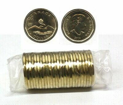 Канада. Елизавета II. 2014. 1 доллар - ролл из 25 монет. Селезень. Олимпийский логотип. Ni-Cu. KM#. UNC