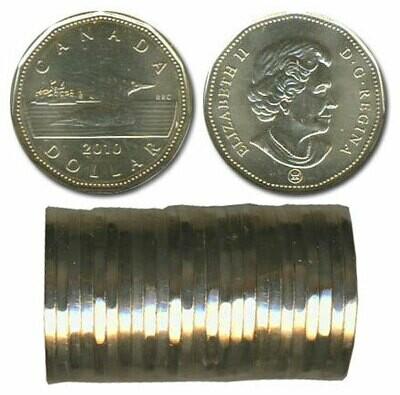 Канада. Елизавета II. 2010. 1 доллар - ролл из 25 монет. Селезень. Логотип RCM. Ni-Cu. KM#. UNC