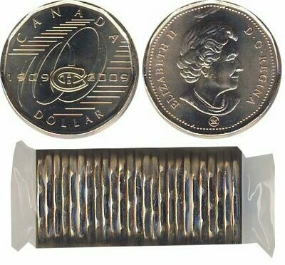 Канада. Елизавета II. 2009. 1 доллар - ролл из 25 монет. Серия: Хоккей. 100 лет команде Монреаль Канадианс. Ni-Cu. KM#. UNC