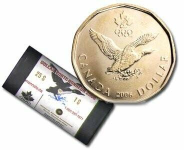 Канада. Елизавета II. 2006. 1 доллар - ролл из 25 монет. Селезень. Ni-Cu. KM#. UNC (СПЕЦИАЛЬНАЯ УПАКОВКА RCM).