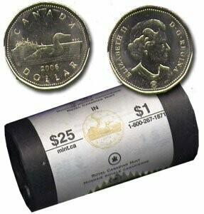 Канада. Елизавета II. 2007. 1 доллар - ролл из 25 монет. Селезень. Логотип RCM. Ni-Cu. KM#. UNC