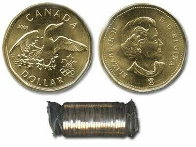Канада. Елизавета II. 2008. 1 доллар - ролл из 25 монет. Селезень. Логотип Олимпийских игр. Ni-Cu. KM#. UNC