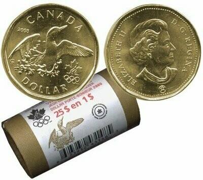 Канада. Елизавета II. 2008. 1 доллар - ролл из 25 монет. Селезень. Логотип Олимпийских игр. Ni-Cu. KM#. UNC. (СПЕЦИАЛЬНАЯ УПАКОВКА от RCM).