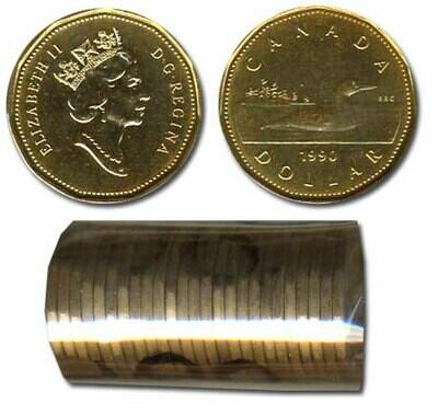 Канада. Елизавета II. 1990. 1 доллар - ролл из 25 монет. Селезень. Ni-Cu. KM#. UNC.