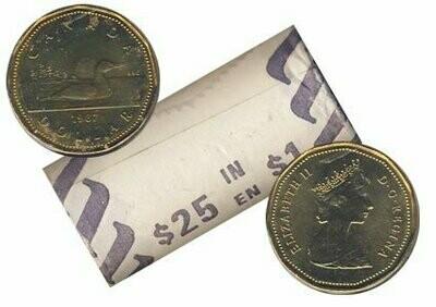 Канада. Елизавета II. 1987. 1 доллар - ролл из 25 монет. Селезень. Ni-Cu. KM#. UNC.