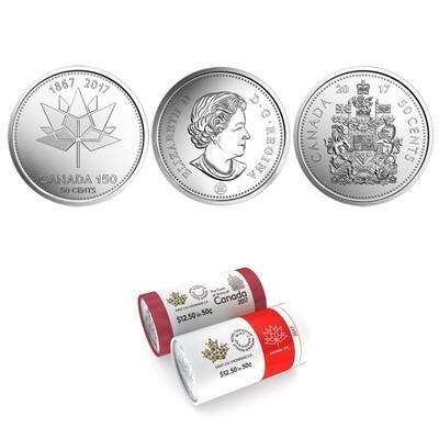 Канада. Елизавета II. 2017. 50 центов - ролл из 25 монет. Серия: 1867-2017. 150 лет Конфедерации Канады. Кленовый лист. Fe-Ni 6.90 g. UNC
