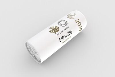 Канада. Елизавета II. 2019. 25 центов - ролл из 40 монет. Карибу. Логотип RCM. Fe-Ni 4.430 g. UNC. (СПЕЦИАЛЬНАЯ УПАКОВКА от RCM).