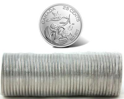 Канада. Елизавета II. 2017. 25 центов - ролл из 40 монет (MIX). Серия: 1867-2017. 150 лет Конфедерации Канады. Fe-Ni 4.430 g. UNC.