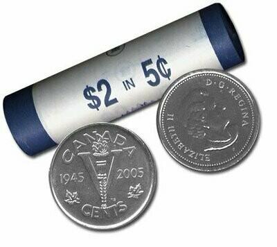 Канада. Елизавета II. 2005. 5 центов - ролл из 40 монет. Серия: 1945-2005. 60 лет победы во Второй мировой войне. Победа. Никель 3.95 g. UNC.
