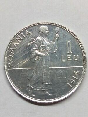 Королевство Румыния. Кароль I. 1914. 1 лей. Тип: 1910. 0.835 Серебро. 0.13424 Oz., ASW. 5.0g. KM#42. aUNC