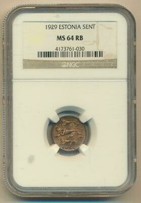 Республика Эстония. 1929. 1 цент. Тип: 1929. Медь. 1.9 g. KM#10. MS64 RB NGC
