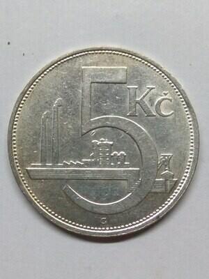 Республика Чехословакия. 1930. 5 крон. Тип: 1928. 500 Серебро 0.1342 Oz, ASW., 7.00 g. KM#11. VF