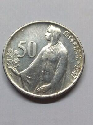 Чехословацкая Республика. 1947. 50 крон. 1944-1947. 3 года Словацкому восстанию. 500 Серебро 0.1608 Oz, ASW., 10.00 g. KM#24. XF