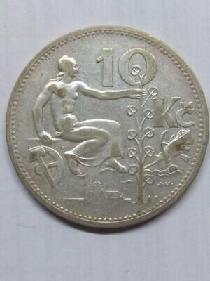 Республика Чехословакия. 1932. 10 крон. Тип: 1930. 700 Серебро 0.2251 Oz, ASW., 10.00 g. KM#15. VF