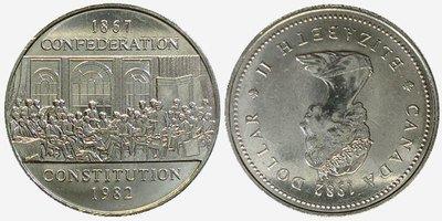 Канада. Елизавета II 1982. 1 доллар. 1867-1982. 125 лет Конституции. Отцы конфедерации. Никель 15.620 g., KM#134 Примечание: Error, coin aligment 180°, Thin. AU
