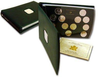 Канада. Елизавета II. 2000. 25 центов. Серия: Миллениум. Набор из 12 монет - Никель 5.07 g.,+*1 жетон. UNC