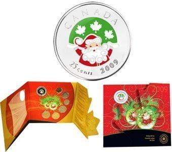 Канада. Елизавета II. 2009. 25 центов. Набор монет. Праздник #06. Санта Клаус. KM#933. UNC.